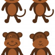 Series of standing brown monkey — Stock Vector #65231357