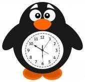 Un pinguino di oggetto orologio — Vettoriale Stock