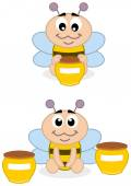 A baby bee with honey — Stock Vector