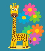 A cute giraffe on floral background — Stock Vector