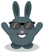 A cute blue bunny with sunglasses — Stock Vector