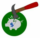 Breaking a piggy bank — Stock Vector