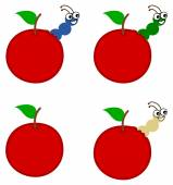 Several maggot emerging from an apple or cherry — Stock Vector