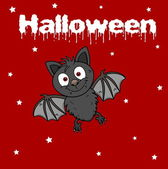 A bat on a red background halloween — Stock Vector