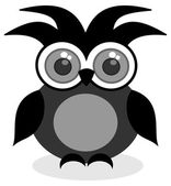 A black owl looking ahead — Stock Vector