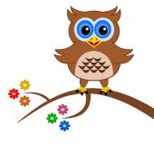 An owl on a branch with flowers — Stock Vector