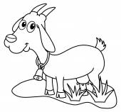 A dairy goat in a field for coloring — Vector de stock
