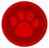 Cat dog paw red button — Stok Vektör