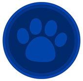 Cat dog paw blue button — Stock vektor