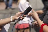 Media interview — Stock Photo