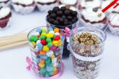 Colorful sweets on the banquet table — Stock Photo