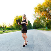 Young beautiful smiling woman with a laptop on the road — Stock Photo