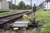 Old manual railway turnout — Stock fotografie