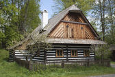 Vesely Kopec, Czech Republic-May 7,2014: Skanzen Vesely Kopec, folk architecture, typical Czech rural building in the highlands, water mill, — Stock Photo