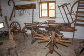 Vesely Kopec, Czech Republic-May 7,2014: Skanzen Vesely Kopec, folk architecture, typical Czech rural building in the highlands, Traditional Czech Wheelwrights workshop — Stock Photo