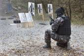 Special anti-terrorist squad, coached at the shooting range — ストック写真
