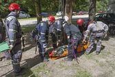 Training rescue people buried in the rubble of buildings, member JOZ Brno City Police — Stock Photo
