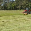 Summer day, red tractor mows the lawn for animal feed on the farm. — Stock Photo #74588655