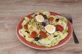 Uppfriskande sommar maträtt, pasta med tonfisk, grönsaker, oliver och ägg. Hälsosam mat för idrottare. — Stockfoto