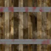 Brown wooden slats reinforced with iron bands.  Old color wooden texture background. — Stock Photo