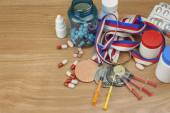 Doping in sport. Abuse of anabolic steroids for sports. Anabolic steroids spilled on a wooden table. Fraud in sports. Pharmaceutical industry. Sports fraud, fake winner. — Stock Photo