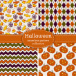 Halloween seamless patterns. Vector set. — Vector de stock  #51987437