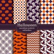 Halloween seamless patterns. Vector set. — Vector de stock  #52400611