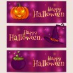 Happy Halloween! Vector set of holiday banners. — Stock Vector #52400625