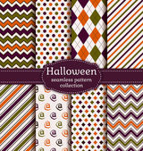 Halloween seamless patterns. Vector set. — Stock Vector