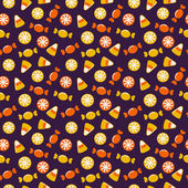 Halloween background with sweets. Seamless vector pattern. — Stock Vector