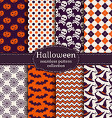 Halloween seamless patterns. Vector set. — Stock Vector