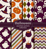 Halloween seamless background. Vector set. — Stock Vector