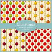 Patterns with christmas balls. Seamless backgrounds. Vector set. — Stockvector