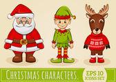 Christmas characters: Santa, elf and reindeer. Vector set. — Stock Vector