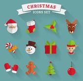 Christmas flat icons. Vector set. — Stock Vector