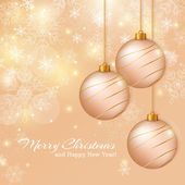 Greeting card with christmas balls. Vector illustration. — Vetor de Stock
