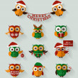 Christmas owls. Flat icons. Vector set. — Stock Vector #58887447