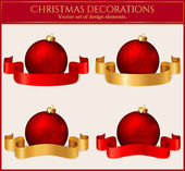 Christmas balls with ribbons. Set of design elemens. Vector illu — Stock Vector