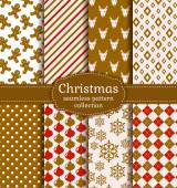 Christmas seamless patterns. Vector set. — Stock Vector