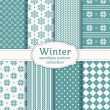 Winter seamless patterns. Vector set. — Stok Vektör #59399897