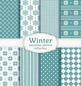 Winter seamless patterns. Vector set. — Stock Vector
