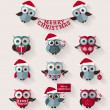 Christmas owls. Flat icons. Vector set. — Stock Vector #59563443