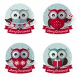 Christmas labels with owls and ribbons. Vector set. — Stock Vector #59819415