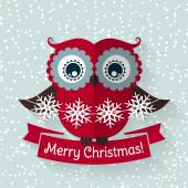 Christmas card with flat owl and ribbon. Vector illustration. — Stock Vector
