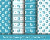 Norwegian seamless patterns. Vector set. — Stock Vector