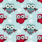 Merry Christmas! Seamless pattern with owls. Vector background. — Stock Vector