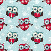 Happy winter holidays!  Seamless pattern with owls. Vector backg — Stock Vector