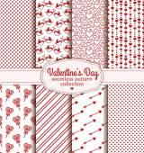 Feliz dia dos namorados! Conjunto de amor e romântica padrão sem emenda — Vetor de Stock