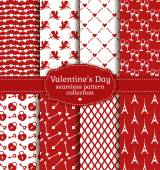 Happy Valentine's Day! Set of love and romantic seamless pattern — Stock Vector