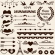 Love, romance and wedding design elements. Vector set. — Stock Vector #62187589